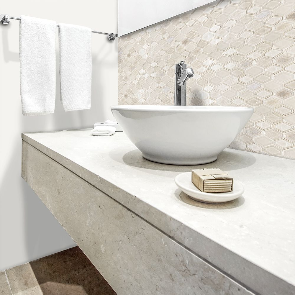 Champagne Bathroom Suite Champagne Beveled Elongated Hex Jeffrey Court 1 Suite Glass