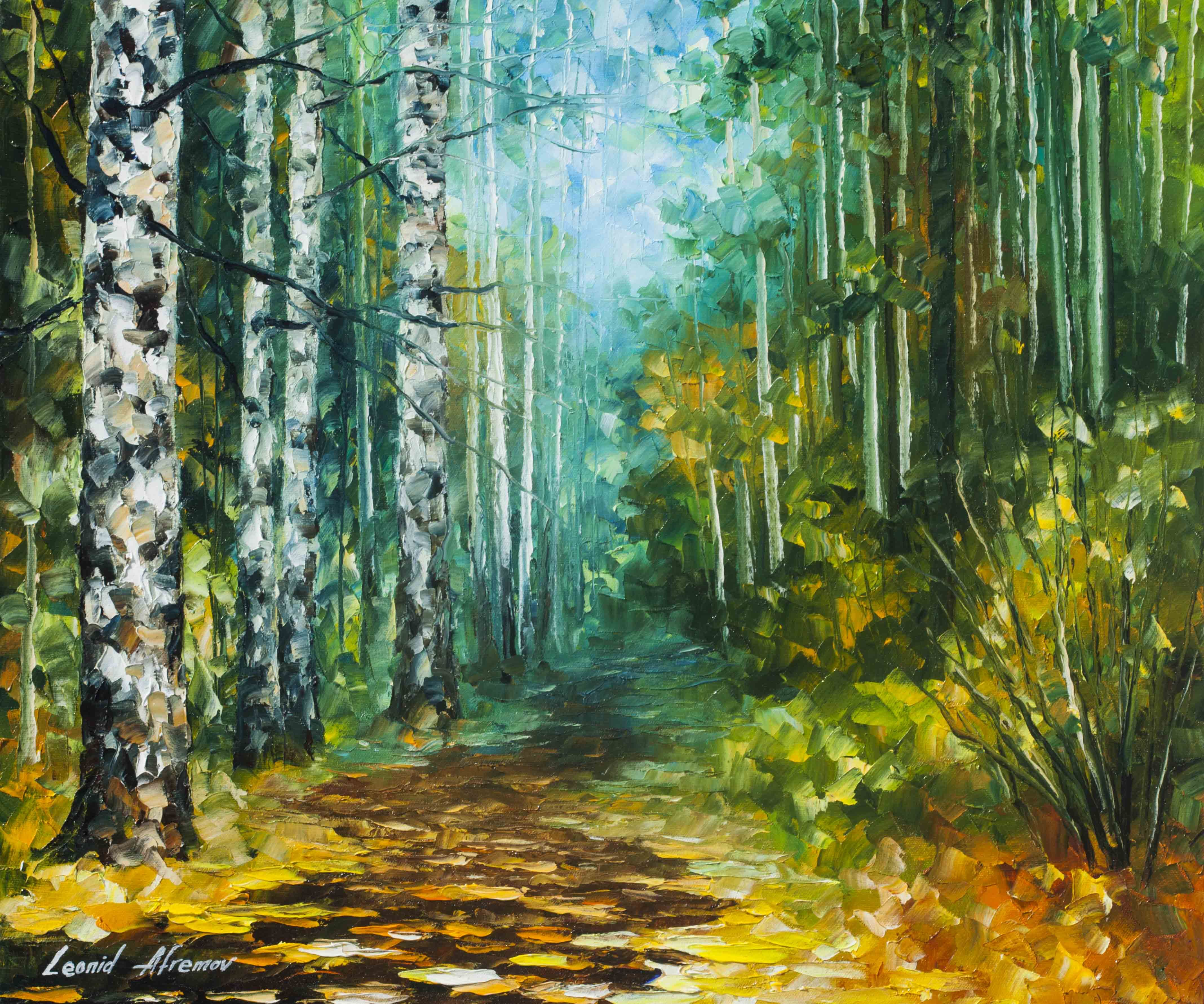 SPRING BIRCHES Original Oil Painting On Canvas By Leonid