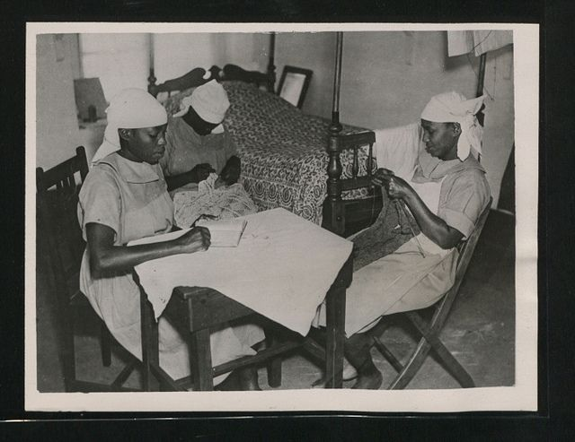 Off duty time for African nurses at Fort Hall. (Picture issued 1945) Kenya