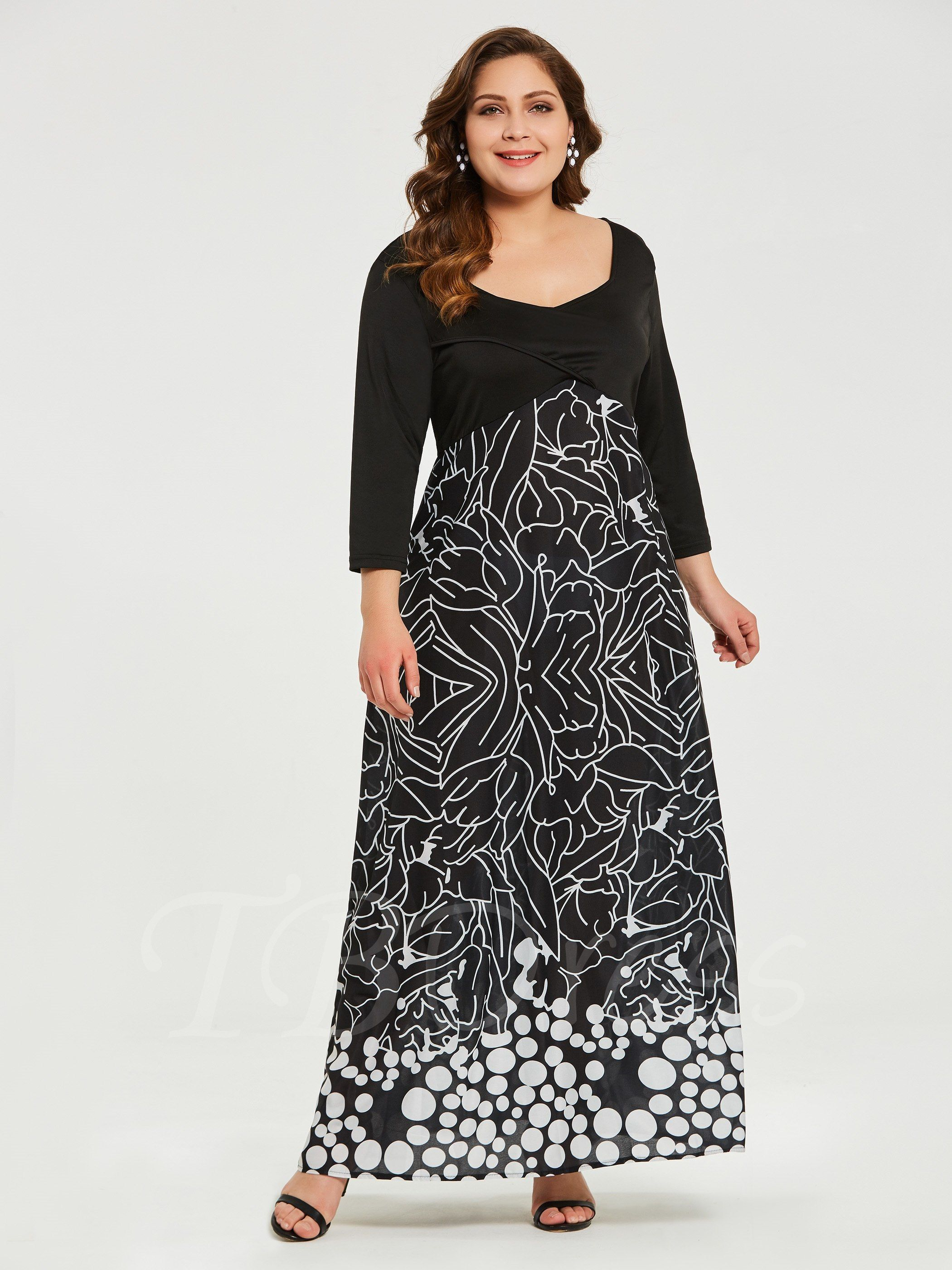 3/4 Sleeve Plus Size Printing Women\'s Maxi Dress - m.tbdress ...