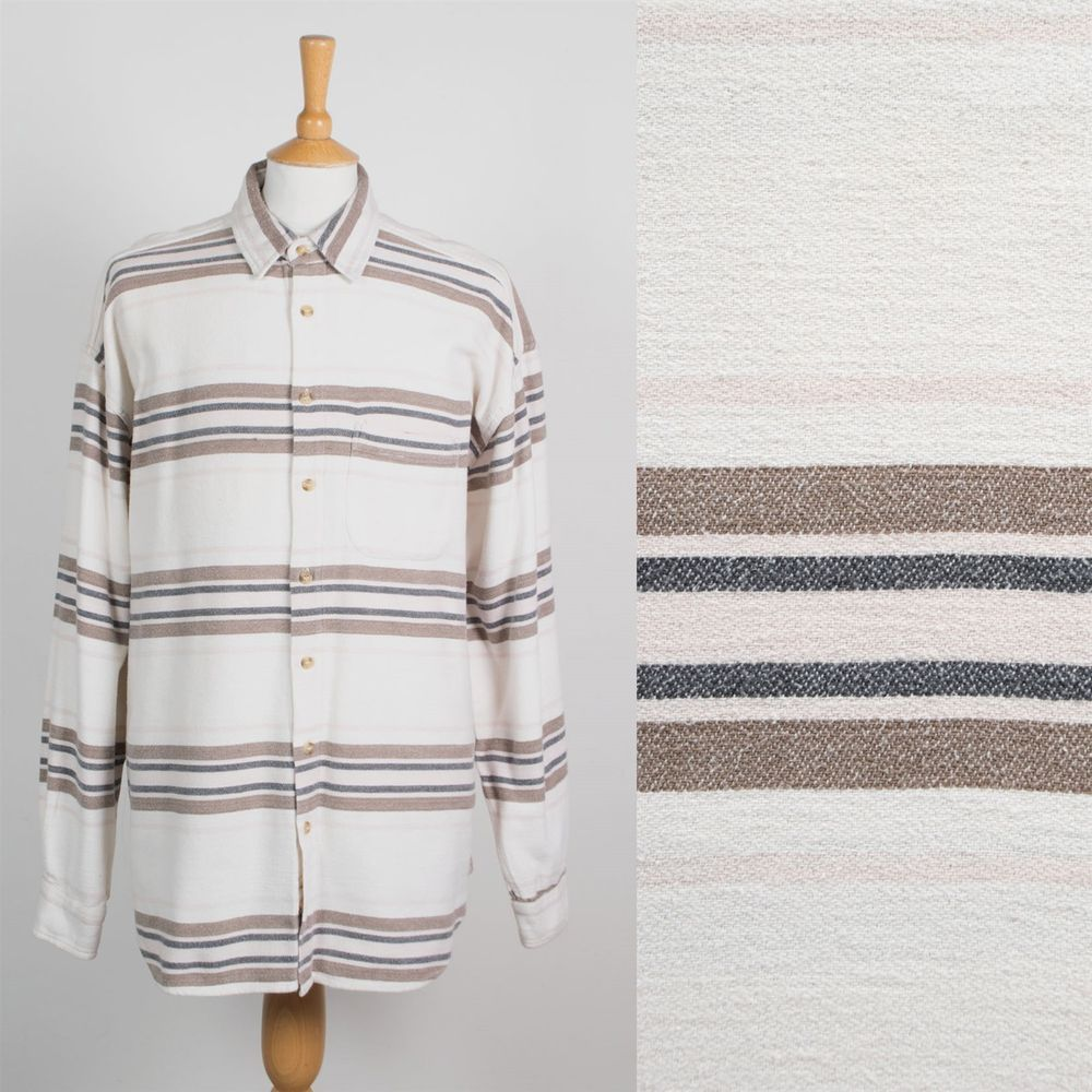 MENS VINTAGE 90s STRIPED PATTERN THICK FLANNEL SHIRT