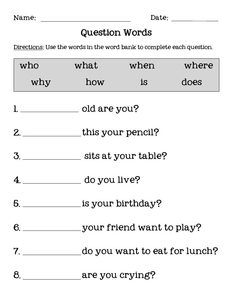 Question Words.pdf - Google Drive   Wh questions worksheets [ 1035 x 800 Pixel ]
