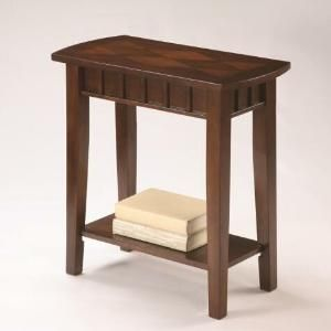 Dentil dark brown finish wood chair side end table with lower shelf