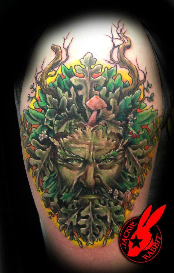 Small Art Tattoo Designs: Green Man Tattoo By Jackie Rabbit By Jackierabbit12