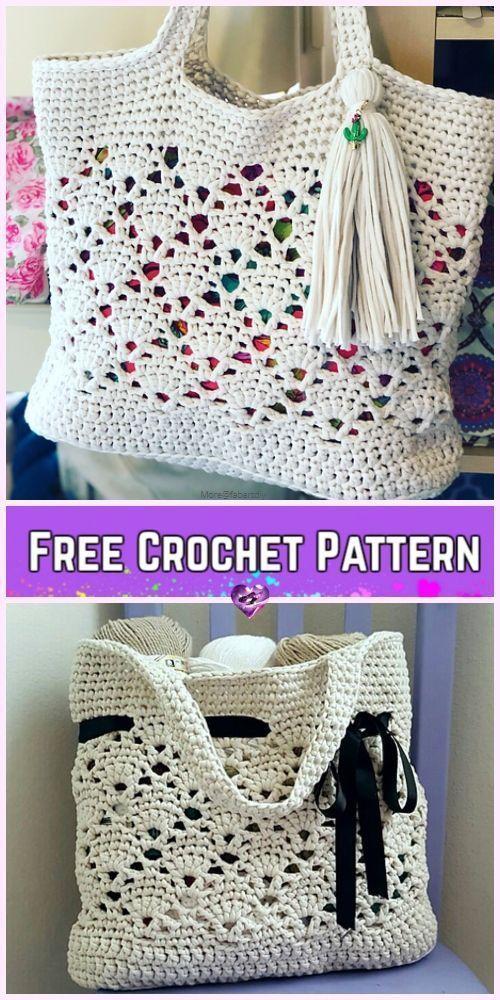 Crochet Vintage Market Tote Bag Kostenlose Häkelanleitung #hakelanleitung #hakeln #market #vintage - Kiersten Christopher #purses
