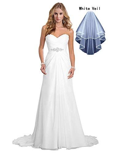Great for Dreambridal Women s Chiffon A-Line Wedding Dresses Simple  Sweetheart Beach Bridal Gowns with Veil online.   79.9  topbrandsclothing  from top store c9f396e6bd
