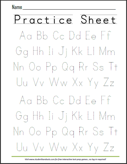 print abcs dashed handwriting practice worksheet - School Worksheets To Print Out