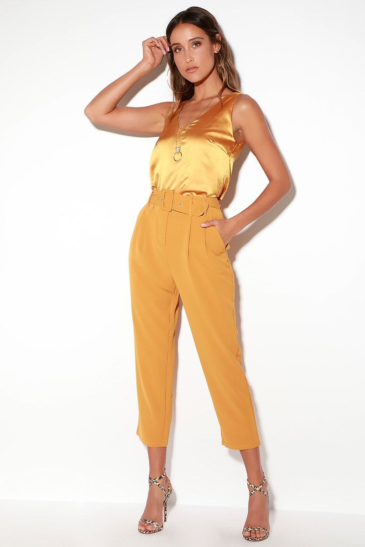5bf07050e2b2 Carroll Mustard Yellow Satin V-Neck Sleeveless Top