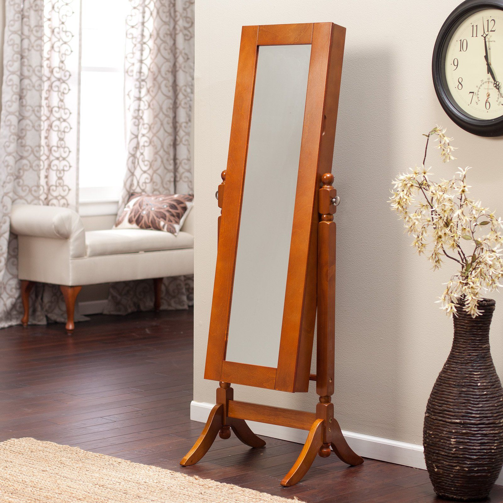Have to have it Heritage Jewelry Armoire Cheval Mirror Oak