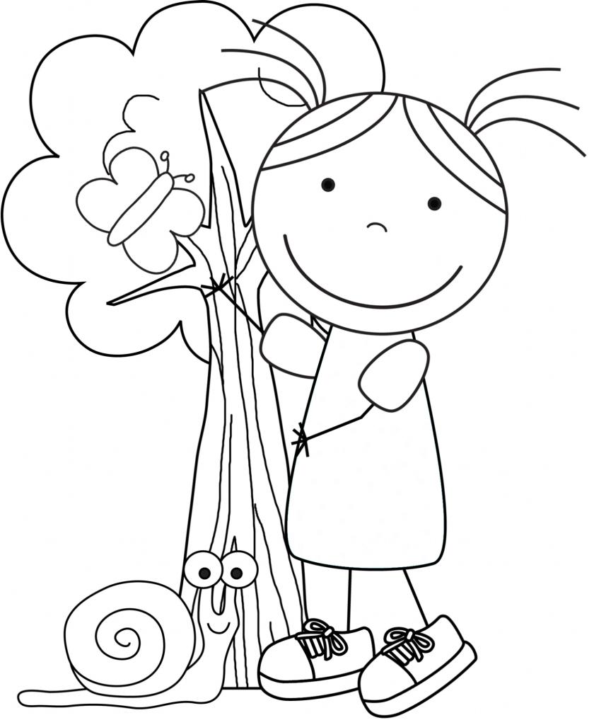 Kid Color Pages: Earth Day for Girls | Zeichnen und Gärten