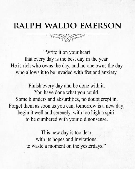 Ralph Waldo Emerson Quote Art Print, Every Day is