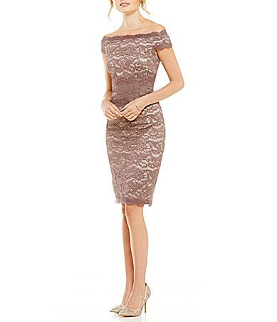 Adrianna Papell Illusion Lace OfftheShoulder Two Tone Dress Dillards Wedding Guest