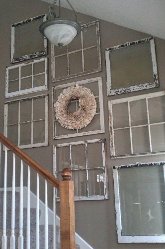 Stairway Wall Decor Diy Window Pane Collage