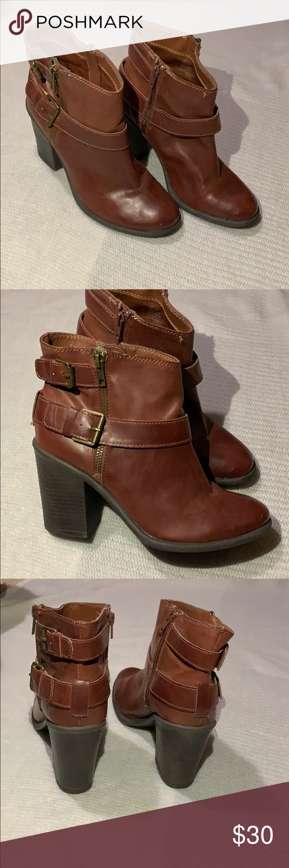 Red/Brown High Heel Booties Brand new! So cute! They look great with dark/light skinny jeans and long dresses! Shoes Ankle Boots & Booties #skinnyjeansandankleboots