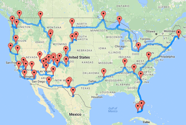 Road Trip Genius Calculates The Shortest Route Through National - Us map best roadtrip map