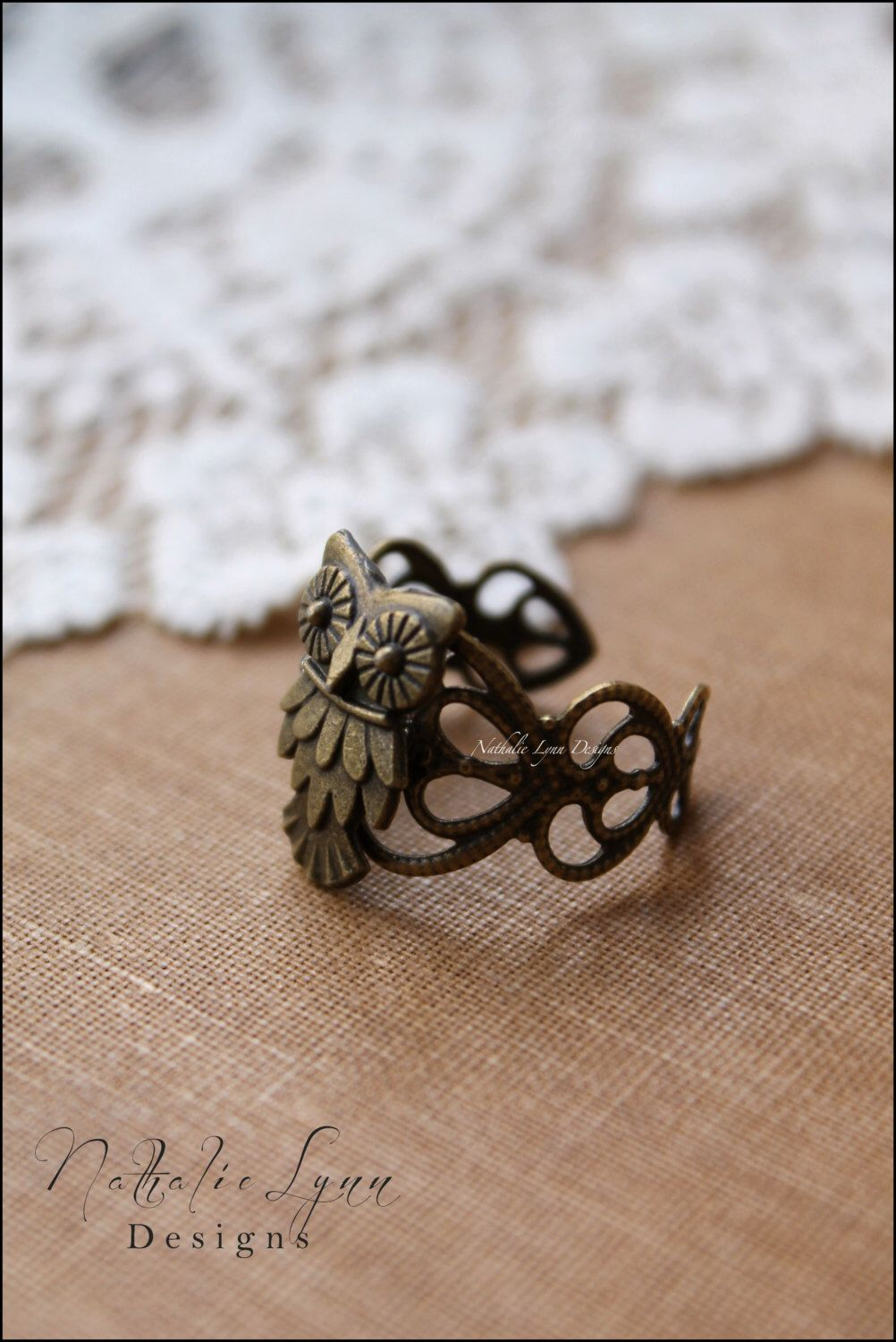 Owl Ring, Adjustable Ring by nathalielynndesigns on Etsy https://www.etsy.com/listing/182757512/owl-ring-adjustable-ring