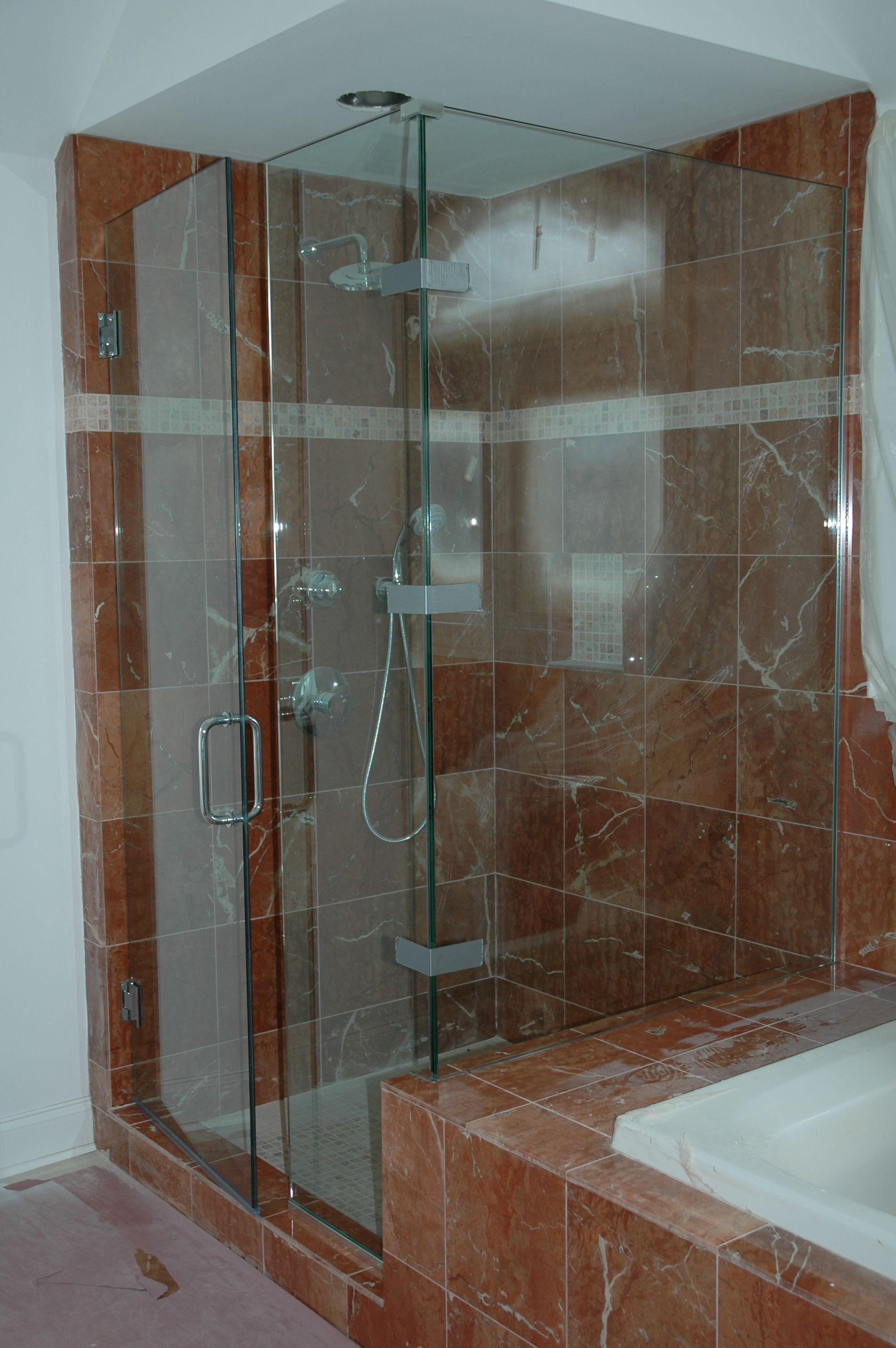 Frameless Clear Glass Shower Enclosure Corner Design Remodel