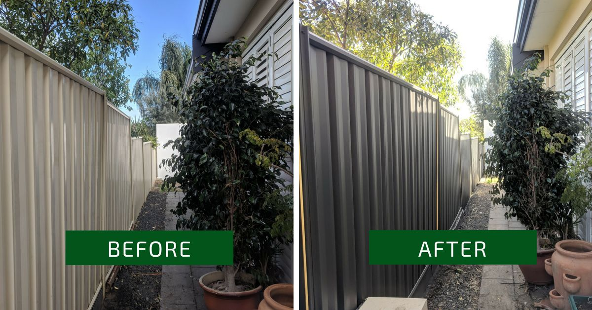 Before And After Colorbond Fence Re Spraying Colour Monument