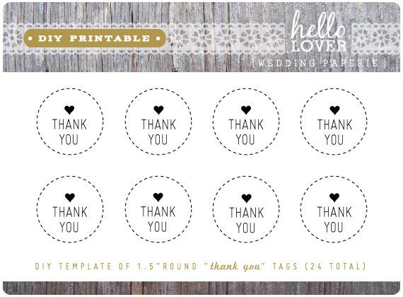 INSTANT DOWNLOAD DIY Printable - Thank You Tags 1.5\