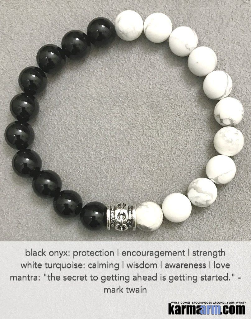 Yoga Beaded Bracelets Black Onyx White Turquoise Men S Women Law Of Attraction Loa Healing Energy Prayer Mantra Spiritual Mala