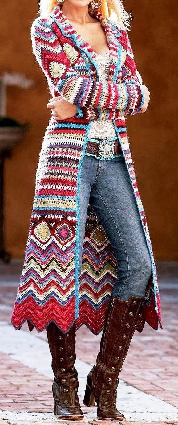 see more Amazing Colorful Crochet Long Sweater and Interesting Long boots, Jeans