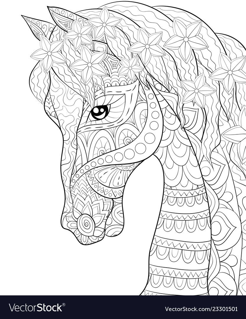 A Cute Horse With Ornaments Image For Relaxing Activity A Coloring Book Page For Adults Zen Detailed Coloring Pages Horse Coloring Pages Animal Coloring Pages [ 1080 x 833 Pixel ]