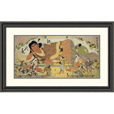 "Global Gallery 'Flower of Edo' by Hiroshige Framed Painting Print Size: 24.85"" H x 40"" W x 1.5"" D"
