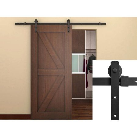 Tms 6ft Black Country Barn Wood Steel Sliding Door Hardware Closet Set Antique Style At