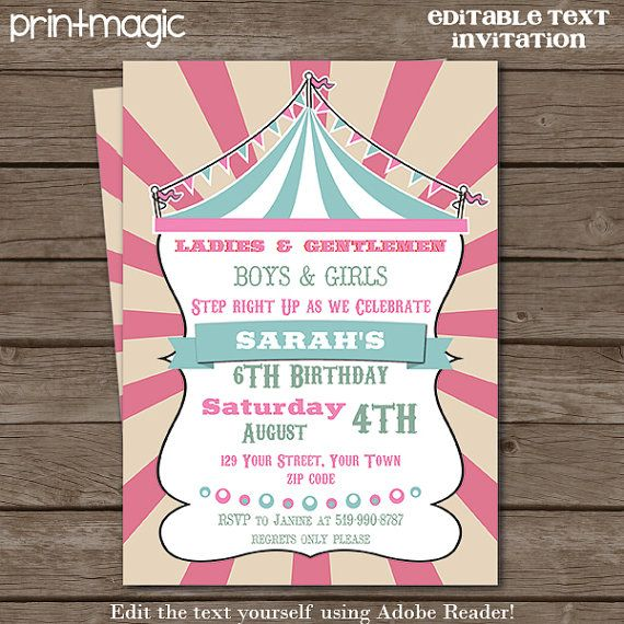 Pink Blue Vintage Circus Party Invitation  Pink Circus Invitation