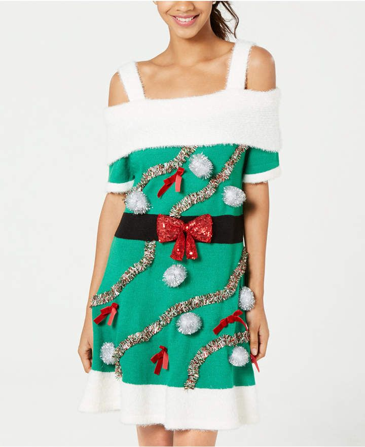 Hooked Up By Iot Juniors Embellished Holiday Sweater Dress Green