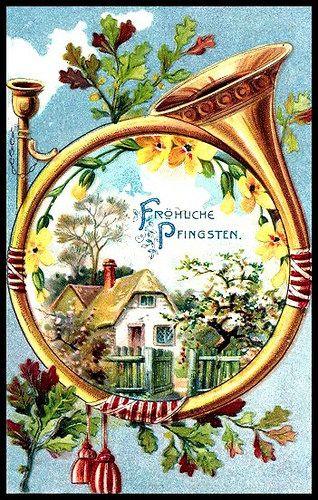 Horn-Pfingst-Pentecost-Whitsun | Vintage easter, Pentecost, Easter