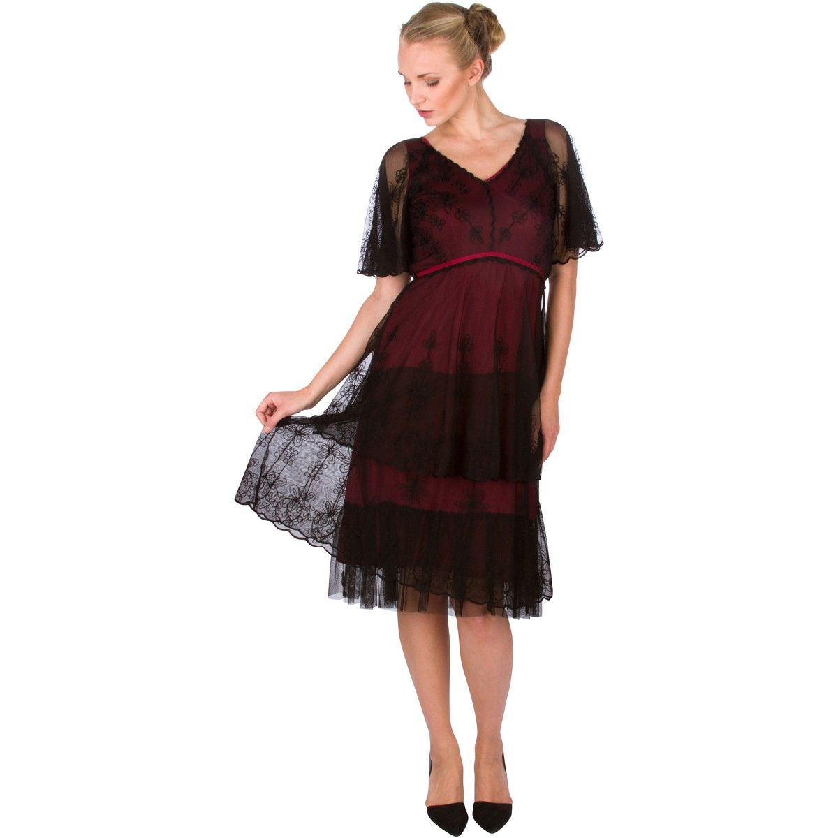 romantic vintage style short dress in wine nataya fashion