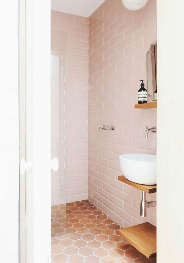 Pale Pink Tiles And Simple Sink