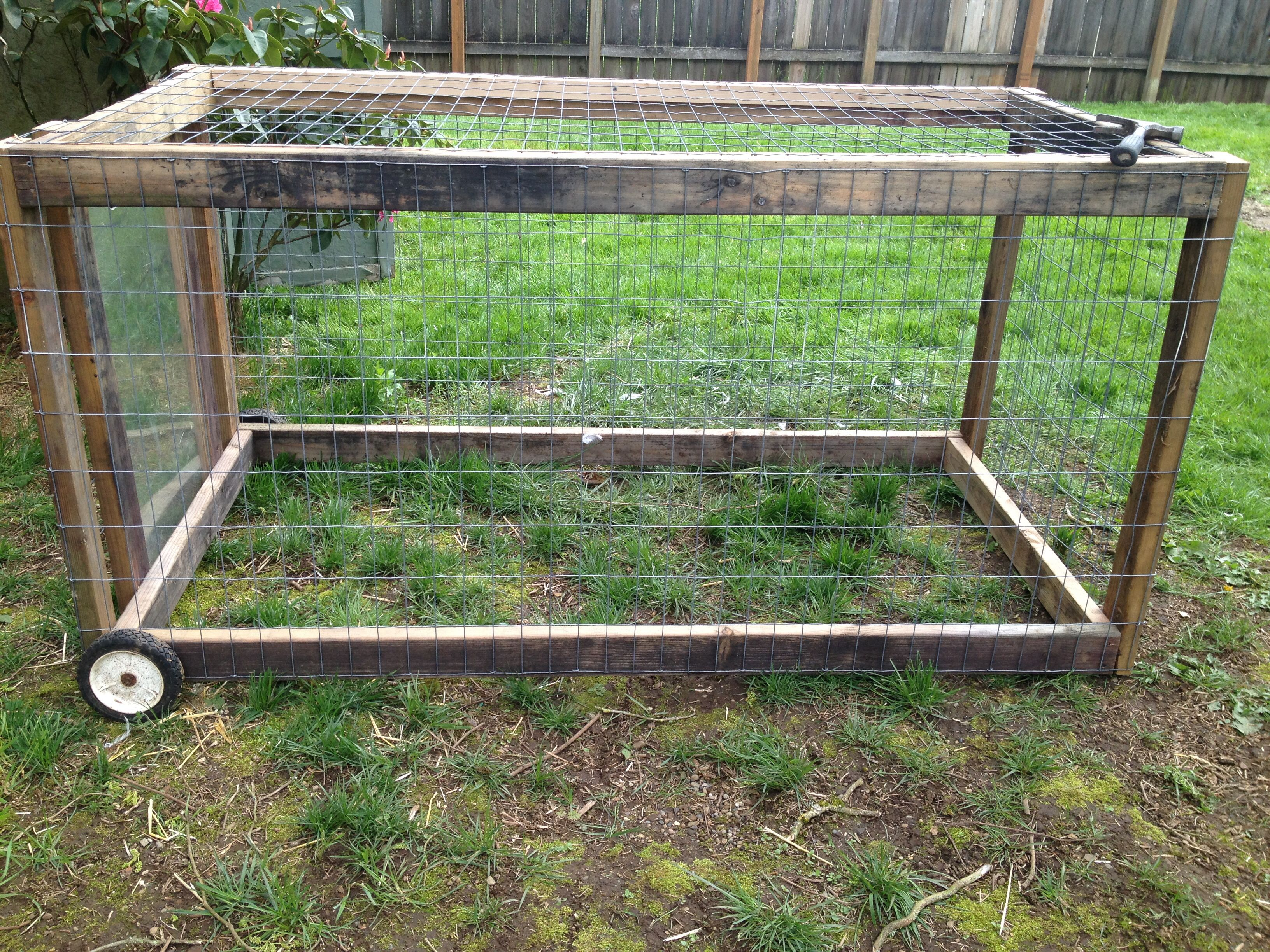 Cheap portable chicken tractor out of recycled wood and for How to build a movable chicken coop