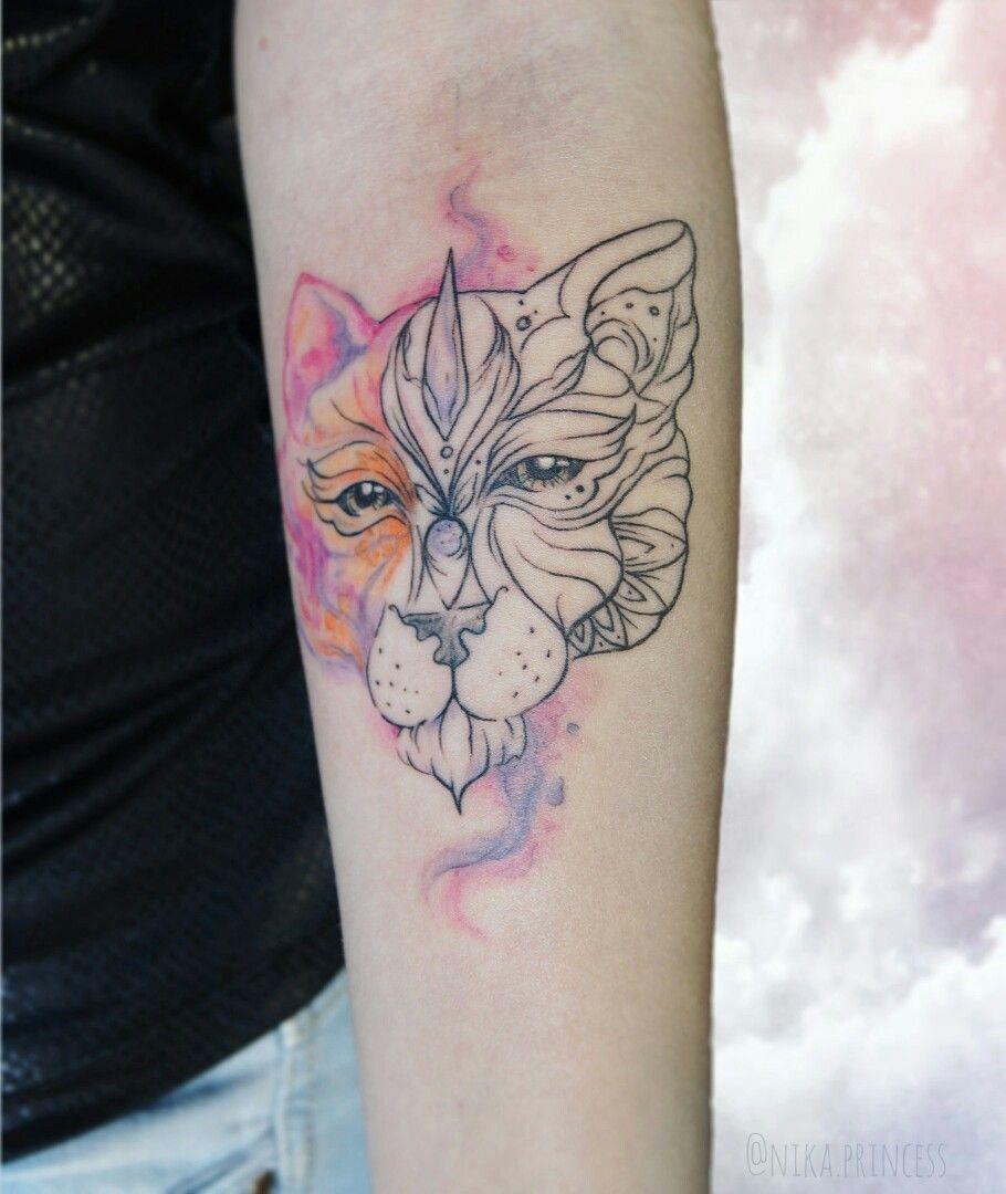 татуировка львица графика акварель татуировки татуировка