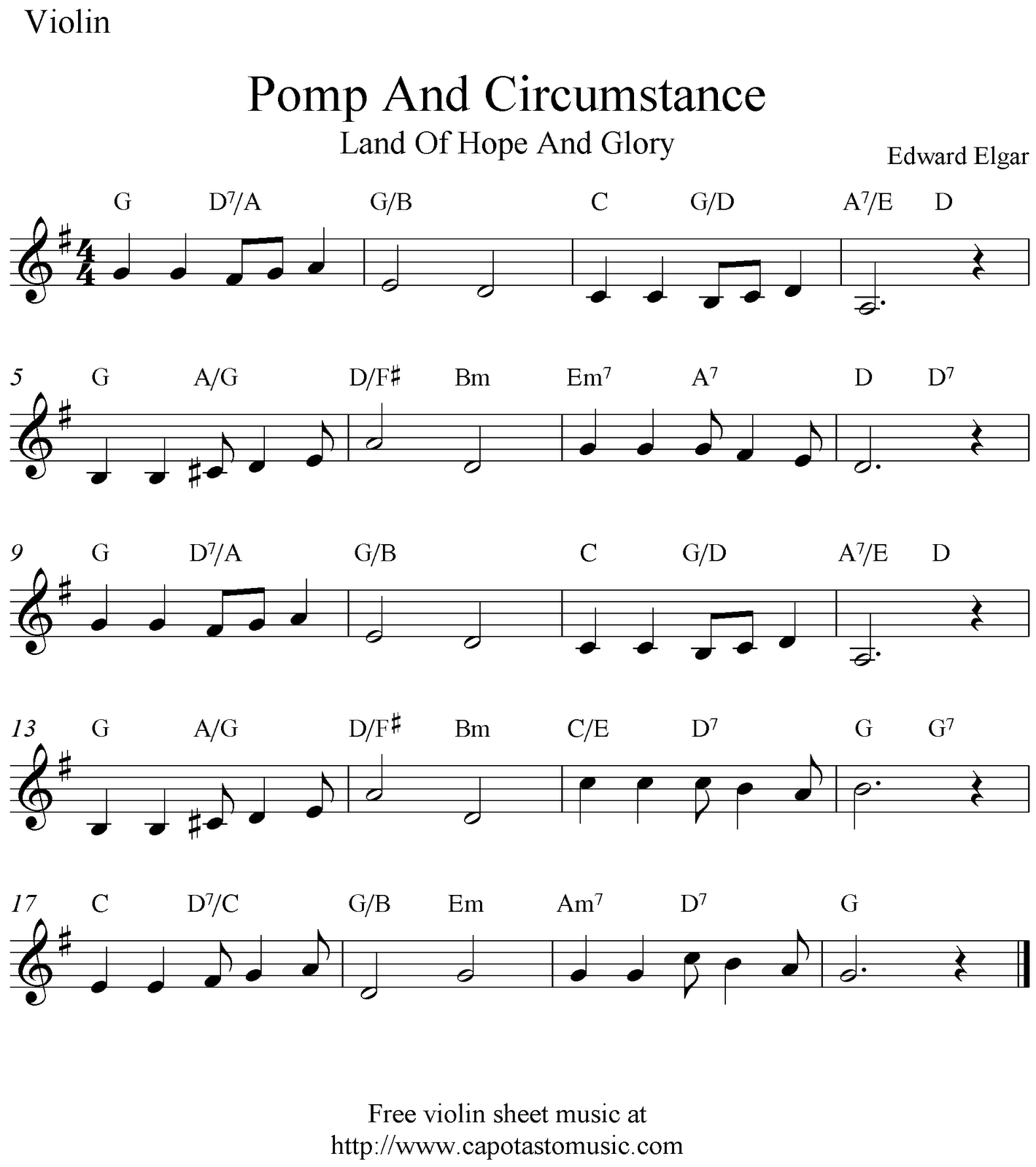 Grenade Flute Sheet Music With Lyrics: Free Sheet Music Scores: Pomp And Circumstance (Land Of