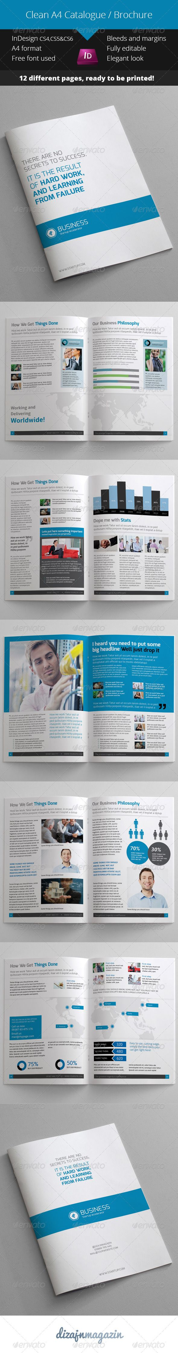 Clean Blue Catalogue Brochure InDesign Template Indesign - Brochure indesign templates