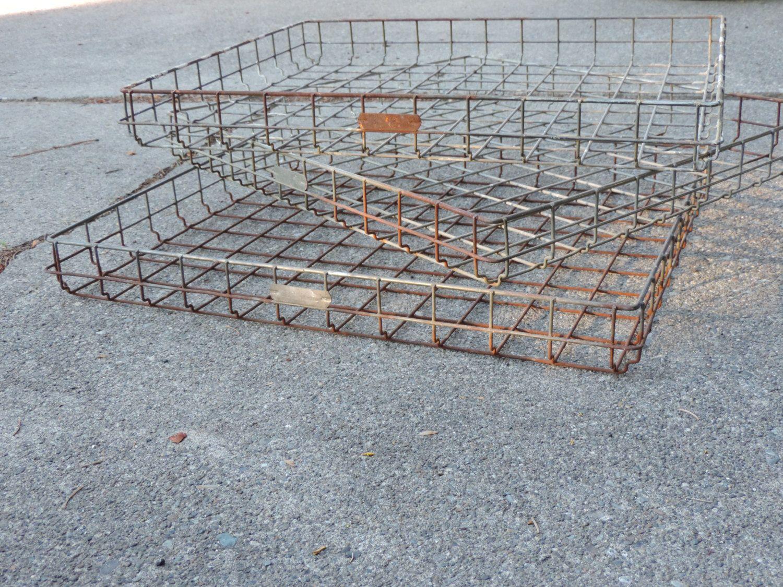 Vintage Wire Basket Industrial Metal Bread Rack Shelf Tray Rustic ...