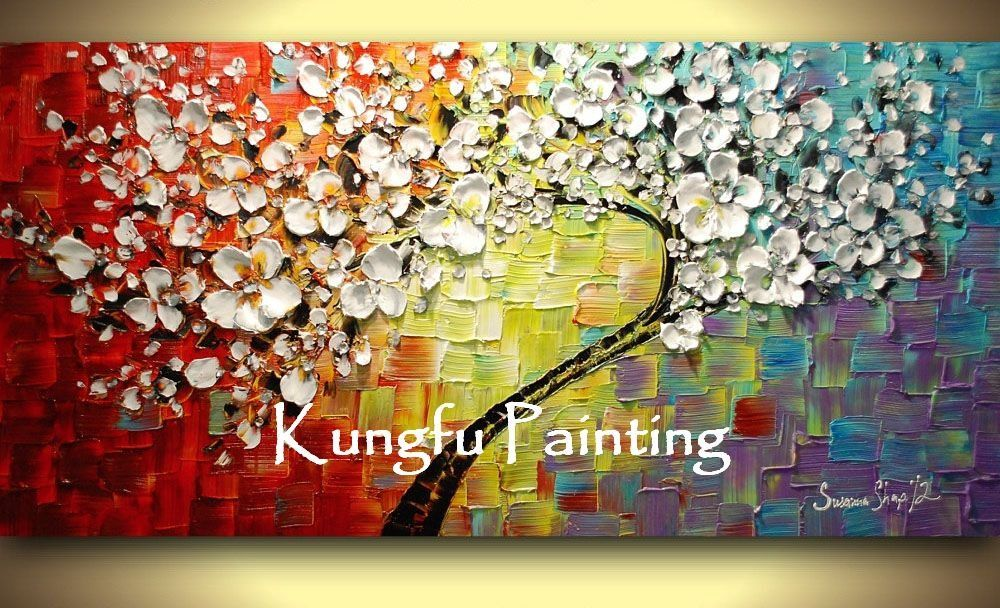 100% hand paint modern oil painting palette knife textured oil ...