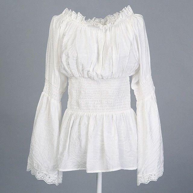 Victorian Vintage Boho Bohemian style White cotton peasant blouse siz S-XXXL