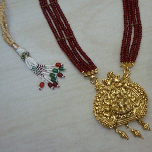 Laxmi necklace -148(temple jewellery) - Online Shopping for Necklaces by Radha's Creations
