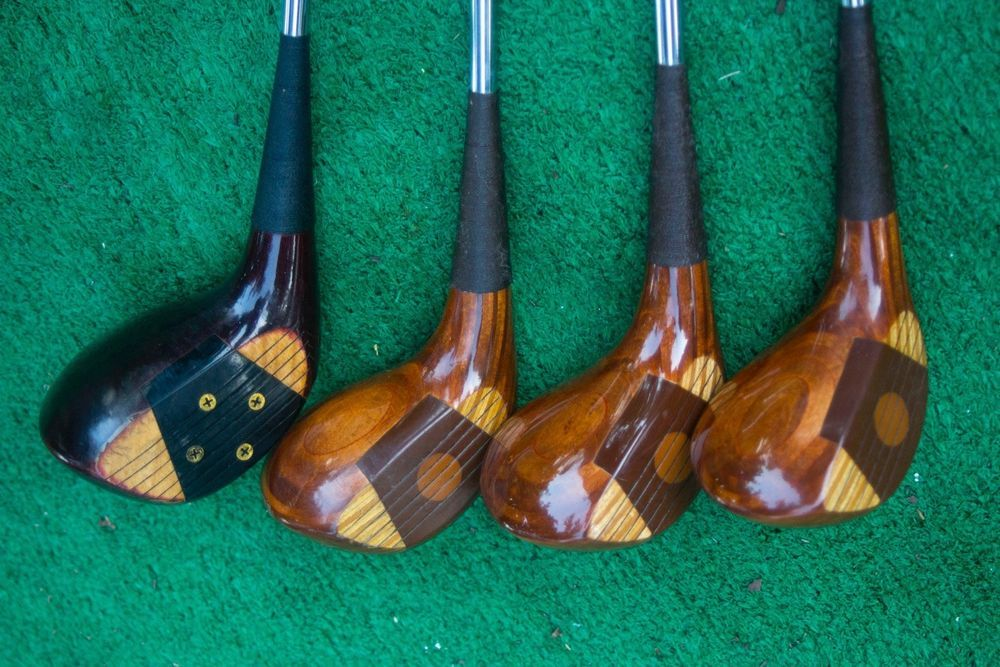 Titleist Vintage Wooden 1 3 4 And 5 Woods Used Golf Clubs And Headcovers Used Golf Clubs Golf Clubs Vintage