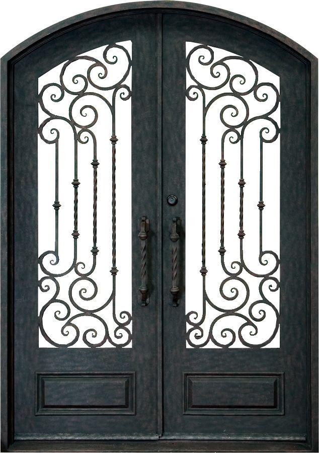 Beautiful Wrought Iron Double Doors | Wrought Iron Doors   Double Curved Iron Door  With Twirl Features