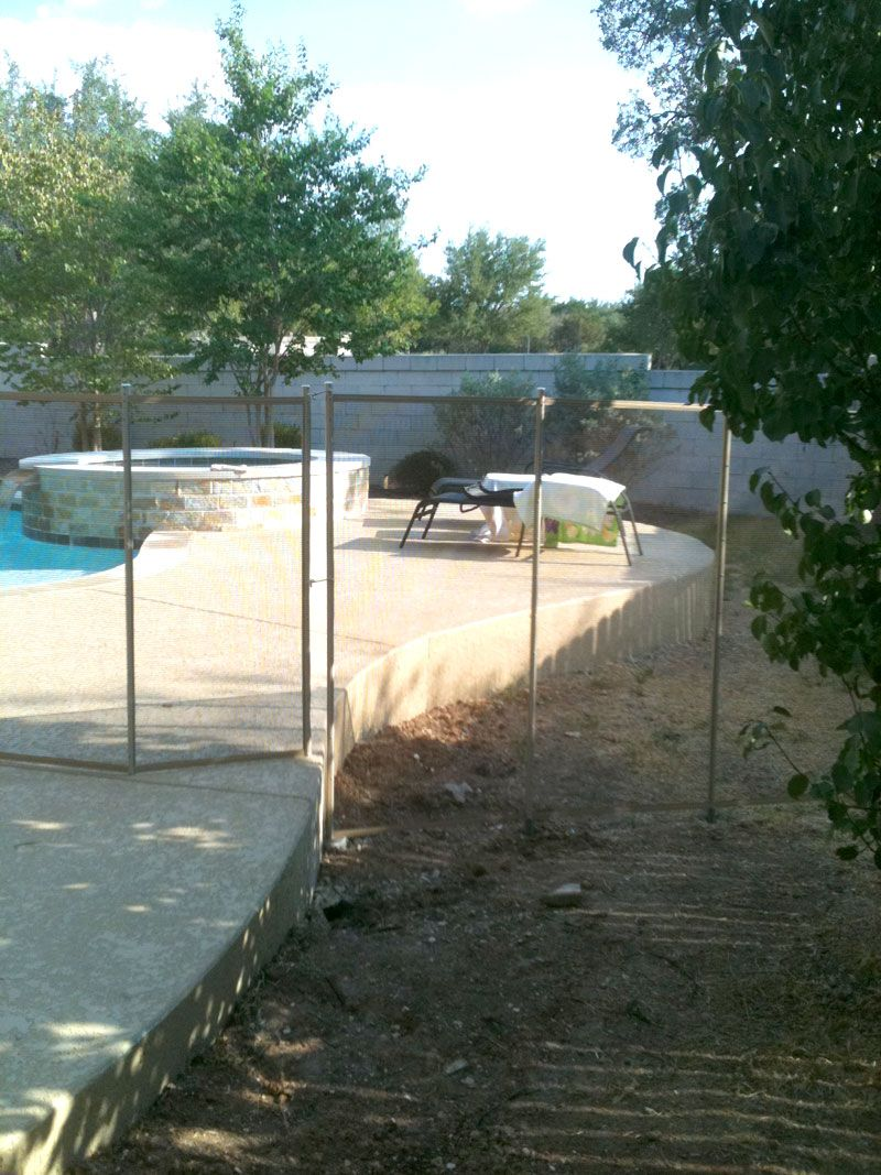 Brown Mesh Pool Fence With Beige Border And Poles. 5 Foot