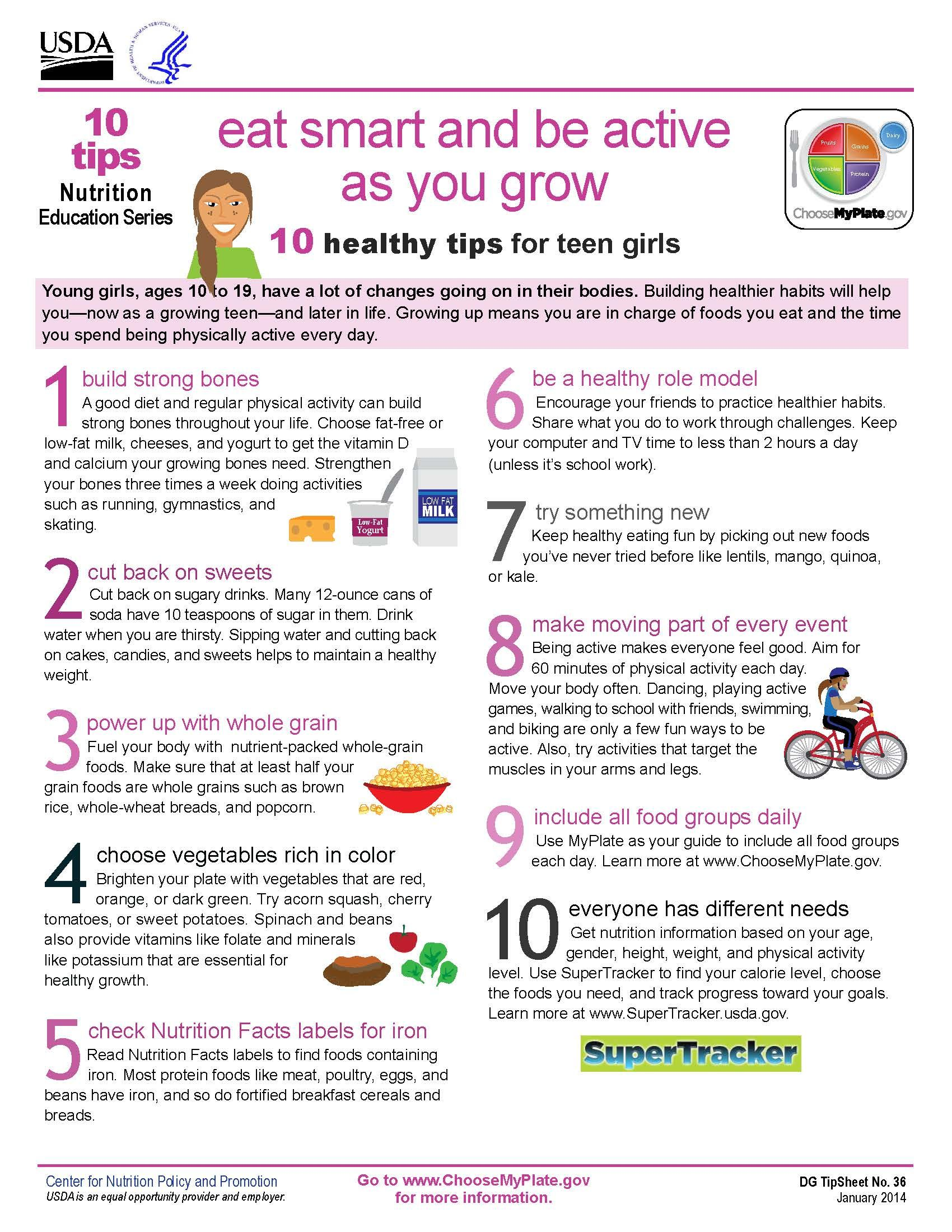 New 10 Tips On Teen Girls Health Eat Smart Be Active As