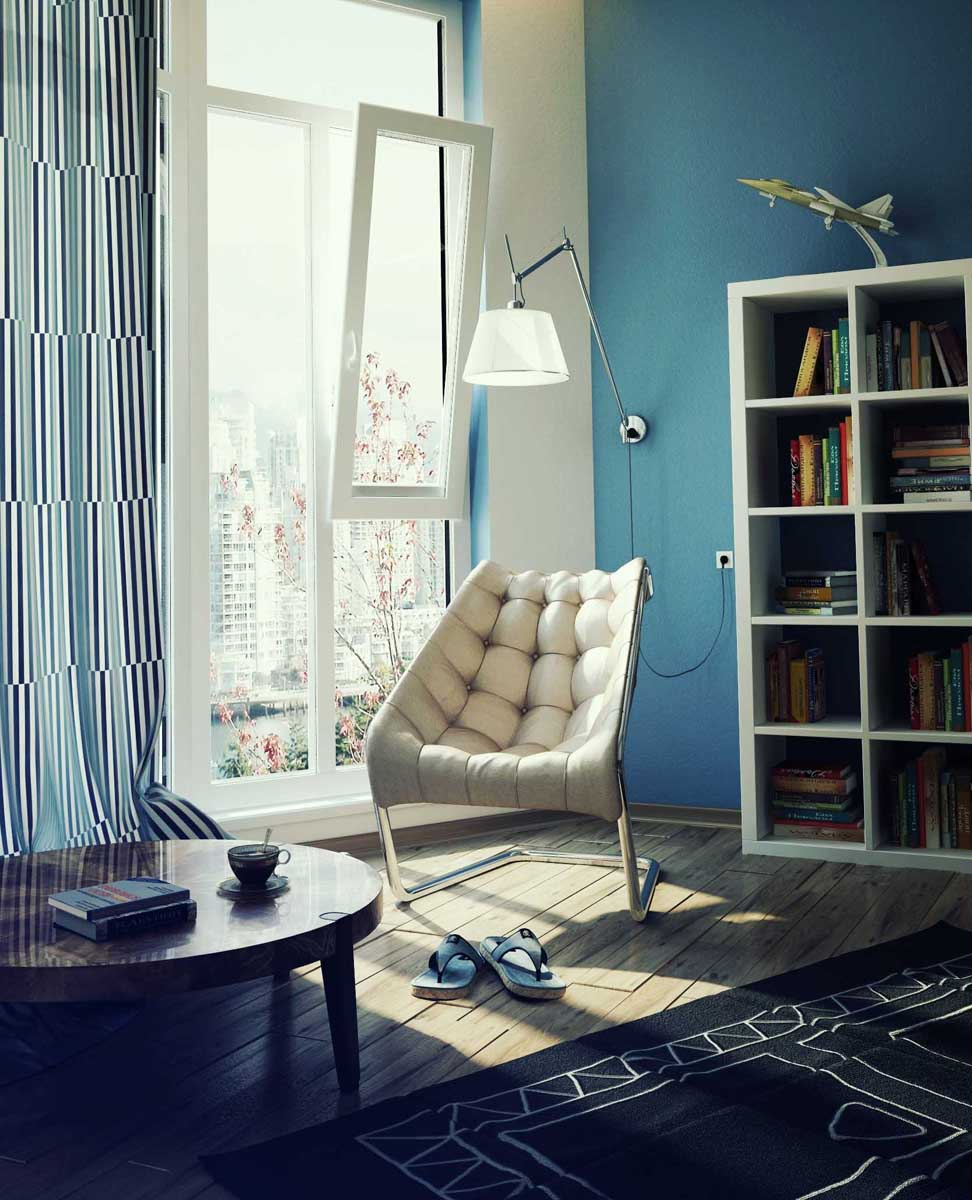 Blue Lounge Comfy Chairs For Small Es With Floor Lamp White Bookshelf And Round Table