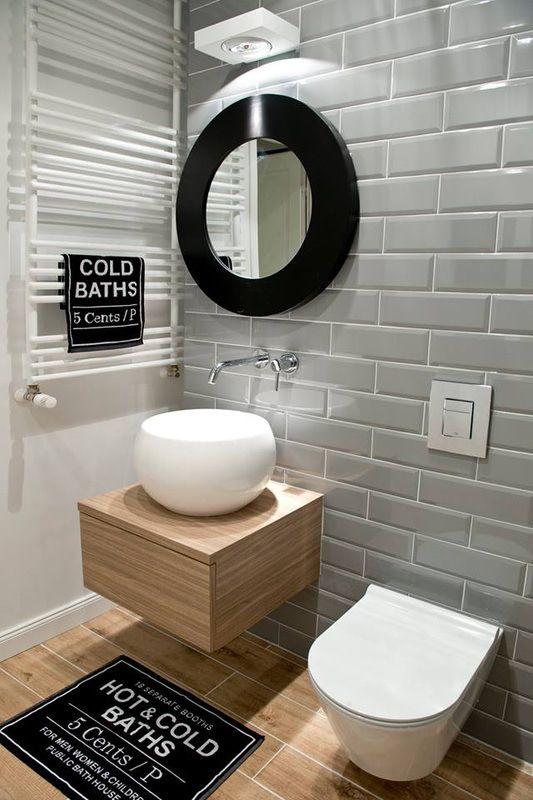 Des #WC #design ! #gris #bois #blanc #déco #décoration #industriel ...