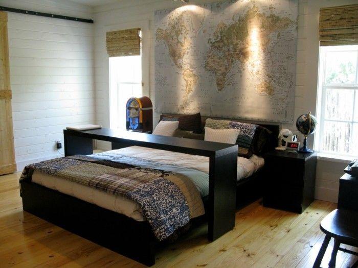 deko ideen schlafzimmer schwarze möbel akzentwand weltkarte ...