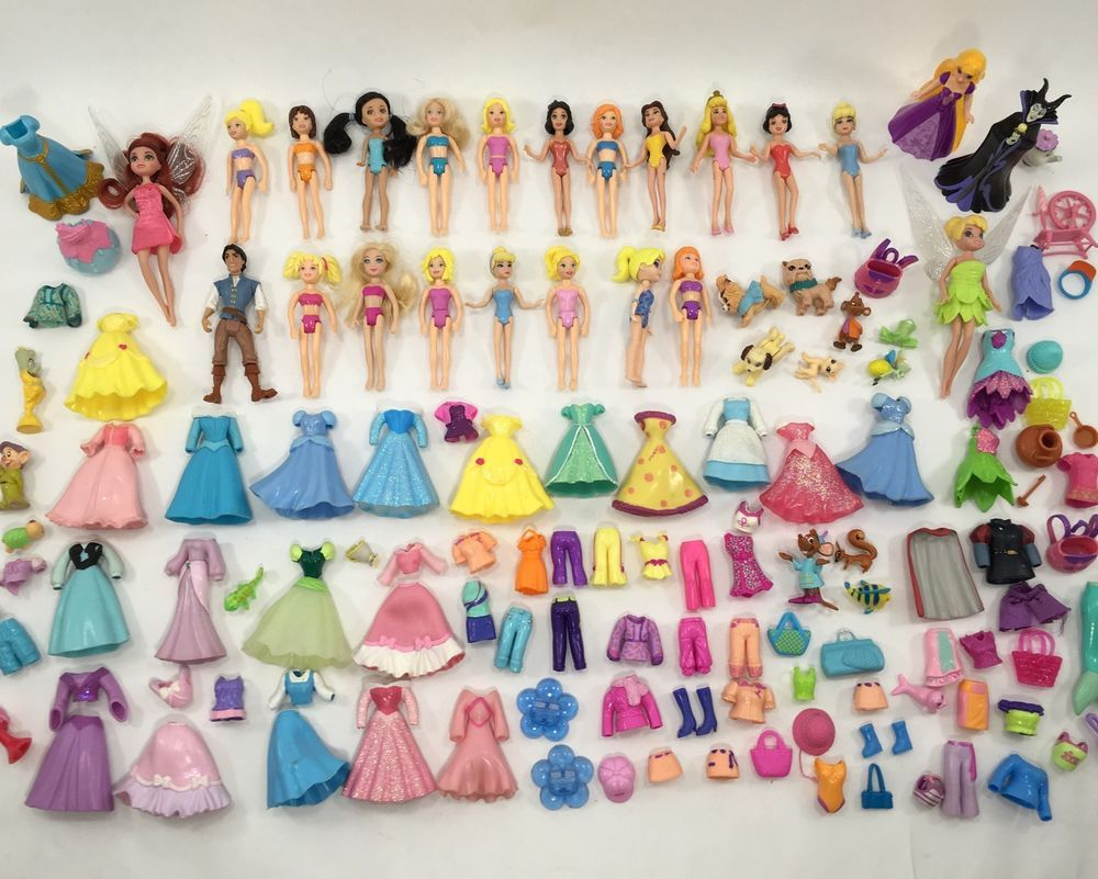 Polly Pocket Disney Princess Lot of Dolls Clothes More 13