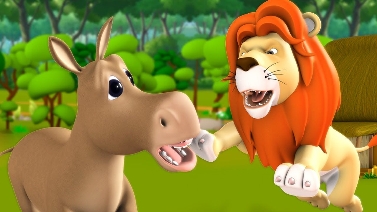 The Lion King Cunning Fox Foolish Donkey English Story 3d Animated Mor Kids Nursery Rhymes Kids Fun Learning Rhymes For Kids